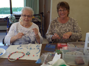 St Monica residents enjoying a bead class.