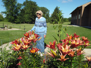 St. Monica's resident enjoy a stroll on the facility grounds.