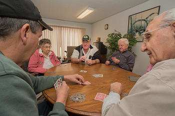 St. Monica's Racine residents playing cards.