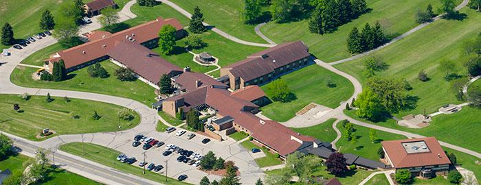 Aerial image of St. Monica's Senior Living in Racine, Wisconsin.