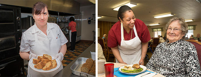 St. Monica's Racine food service staff serving nutritious meals to resdents.