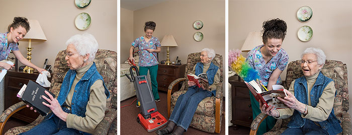 St Monica's friendly housekeeping staff cleaning resident's home.
