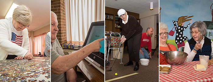 Images of St. Monca's Racine residents enjoying various activities.