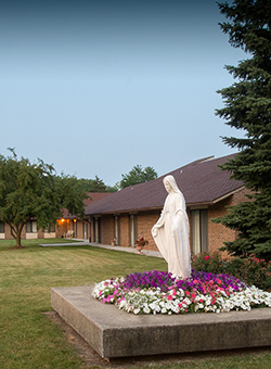 Statue in front of St. Monica's Senior Living in Racine.